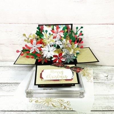 【クリスマスカード】ポインセチアのフラワーBOX