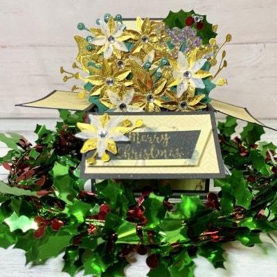 【クリスマスカード】ポインセチアのフラワーBOX ゴールド