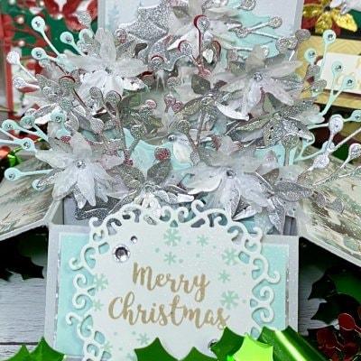 **限定1点**【クリスマスカード】ポインセチアのフラワーBOX シルバー