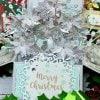 【クリスマスカード】ポインセチアのフラワーBOX シルバー