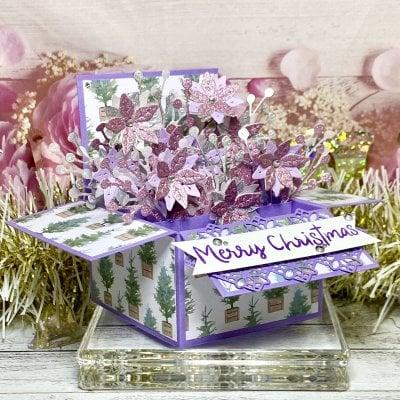 **限定1点**【クリスマスカード】ポインセチアのフラワーBOX ピンク