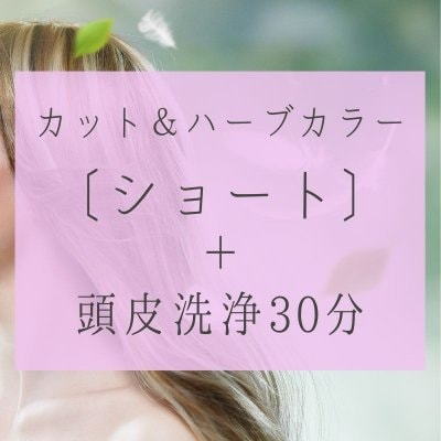 カット、ハーブカラー〔ショート〕頭皮洗浄30分18000円(税別)
