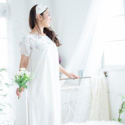 【可憐フラワー刺繍】ルームドレス/オフホワイト(RD012)