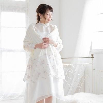 【愛され小花刺繍】ストール(S002アイボリー)