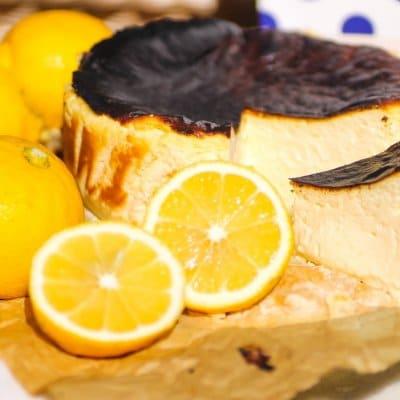 自然栽培 烏山農園レモン使用 古民家カフェ「むすび」の瀬戸内レモンバスクチーズケーキ【冷蔵便・送料込】