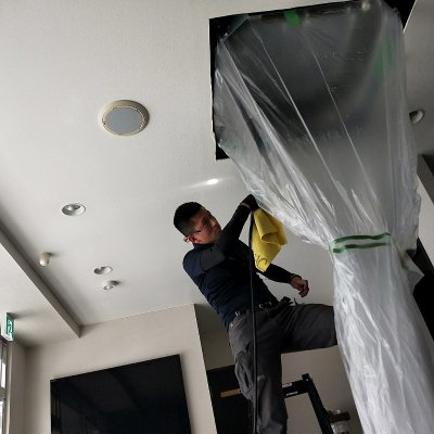 業務用エアコンクリーニング|エアコン分解洗浄|天井カセット型4方向タイプ 2台