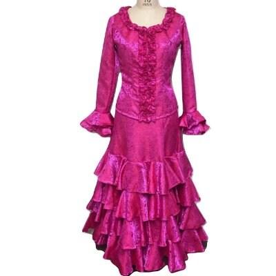 【色を選んでイージーオーダー】フラメンコ衣装*ツーピース(バラ柄シャンタンジャガード)
