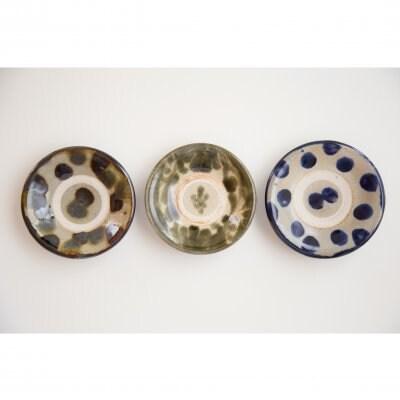 3.5寸皿 3枚セット 三彩点打ち・呉須唐草・コバルト点打ち