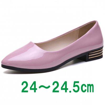 雨でも履けるレインパンプス/ローヒールパンプス Lサイズ【ピンク】ラバー素材