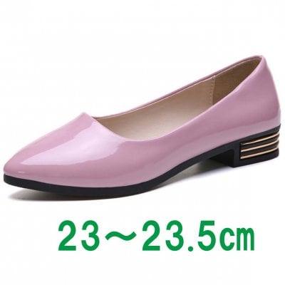 雨でも履けるレインパンプス/ローヒールパンプス Mサイズ【ピンク】ラバー素材
