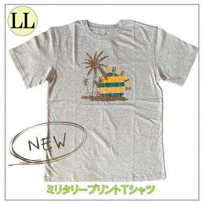 メンズミリタリーTシャツ/LLサイズ ヤシの木デザイン/グレー
