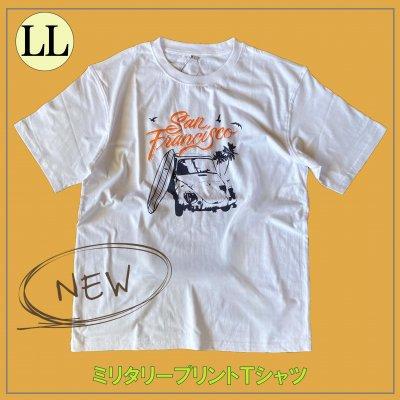 メンズミリタリーTシャツ/大きいサイズ LLサイズ サーフデザイン 車/ホワイト