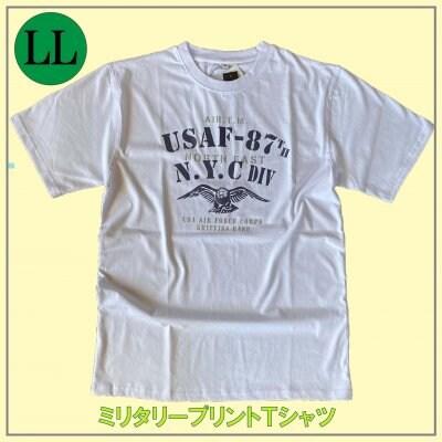 メンズミリタリーTシャツ/LLサイズ イーグルデザイン 鷹/ホワイト