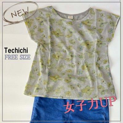 テチチ Techichi チュールフラワー プリントプルオーバーTシャツ/FREE SIZE
