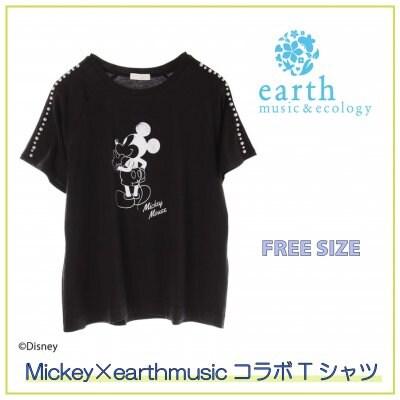 mickey×earthmusicコラボ アースミュージックのミッキーTシャツ/フリーサイズ