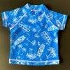 キッズ用 UV効果つき 半袖ラッシュガード☆サーフ柄 ブルー×ホワイト 100センチ