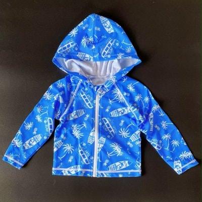 キッズ用 UV効果つきラッシュガード☆サメ柄/前開き ブルー×ホワイト 110センチ