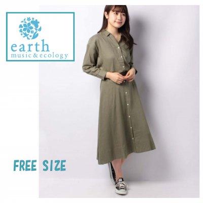 earthmusic & ecology アースミュージックエコロジー 抜け衿シャツ+前ボタンスカート SET2点 シャツブラウス+スカート/フリーサイズ カーキカラー