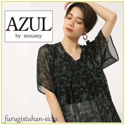 AZUL by moussy アズールバイマウジー リーフ柄楊柳スキッパー/Mサイズ...