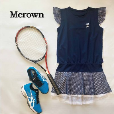 Mcrown テニスワンピース/汗をかいても体につきにくいサラサラUV生地/メ...