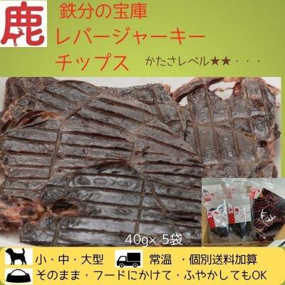 🐶わんこ用/鉄分の宝庫 鹿肉レバージャーキー5袋セット(40g×5袋)かたさレベル★★☆☆☆