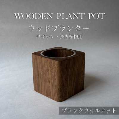 【ブラックウォルナット】ウッドプランター(サボテン・多肉植物用)