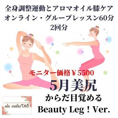 筋肉喜ぶBeauty Leg!Ver.[姿勢は美しく・膝痛・冷え・むくみもオンラインで改善♪]からだ目覚める! 健美姿勢・健美脚作り60分グループレッスン/運動+楢林式アロマ膝ケア/延長モニター募集