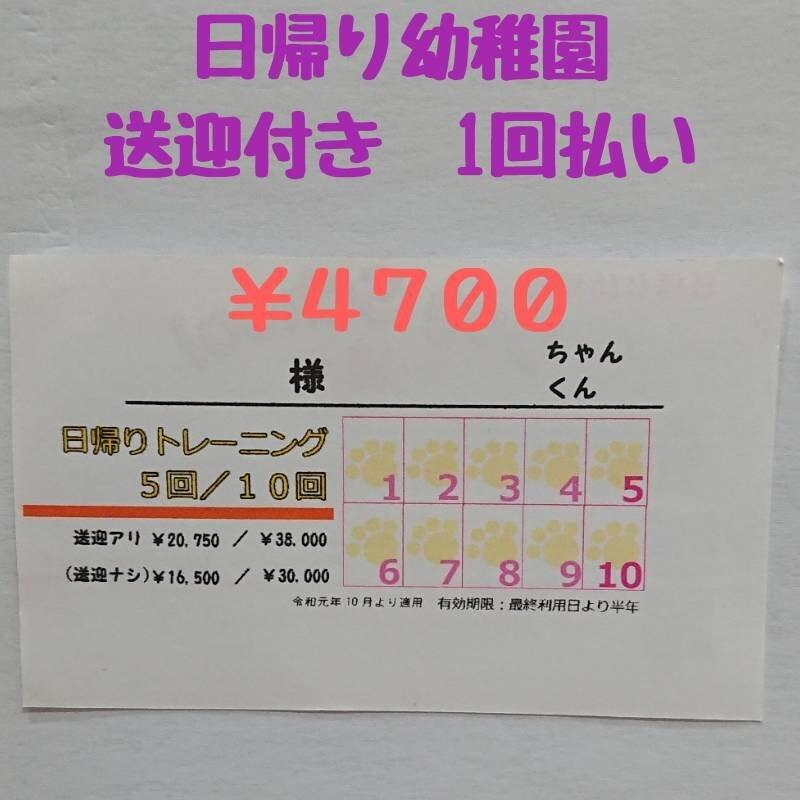 日帰り幼稚園 登園チケット 【送迎付き】1回 4700円分のイメージその1