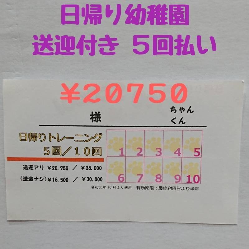 日帰り幼稚園 【送迎付き】5回セット 20750円カードの引換券のイメージその1