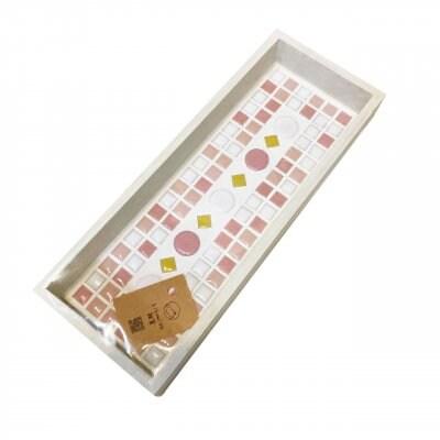 【きくみそ雑貨】モザイクタイルカトラリートレー<白枠ピンク>