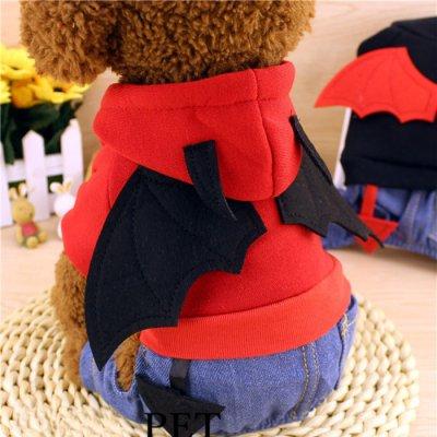 【ドッグウェア】小悪魔わんちゃんの完成☆ハロウィンに大活躍!かわいいデニムパンツのデビルコスチュームです♪ハロウィン コスプレ 犬 小型犬 かわいい オシャレ デビル 小悪魔ハロウィン 犬 犬服 コスプレ 仮装 ドッグウェア 悪魔 デビルコス デビル  赤 レッド デニム(mg-0117)