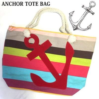 イカリのフェルトパッチワークが施されたコットン素材のトートバッグ。ビーチバッグとして、マザーズバッグとして、お買い物バッグとしても重宝する一品です。(mg-0097)