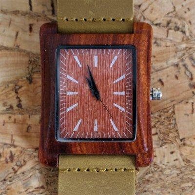 【木の腕時計】天然木×本革 木のぬくもり 優しい感触 メンズ レディース 革バンドの色も選択可♪ 金属アレルギーで腕時計を諦めていた方にも【EN】