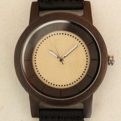 【人気No.1】【木の腕時計】【小さめサイズ】天然木×本革 木のぬくもり 優しい感触 メンズ レディース 革バンドの色も選択可♪ 金属アレルギーで腕時計を諦めていた方にも【EU】