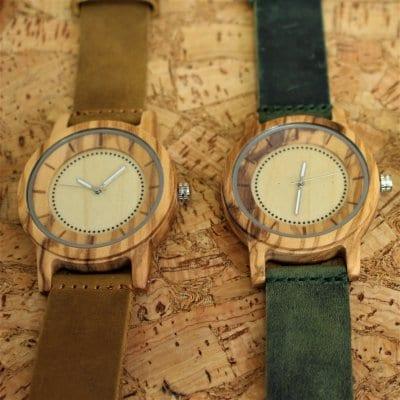 【木の腕時計】【小さめサイズ】天然木×本革 木のぬくもり 優しい感触 メンズ レディース 革バンドの色も選択可♪ 金属アレルギーで腕時計を諦めていた方にも【EV】