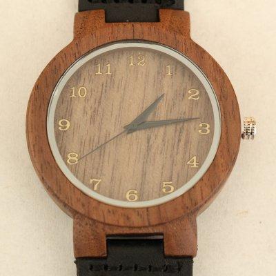 【木の腕時計】天然木×本革 木のぬくもり 優しい感触 メンズ レディース 革バンドの色も選択可♪ 金属アレルギーで腕時計を諦めていた方にも【GU】