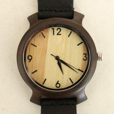 【木の腕時計】天然木×本革 木のぬくもり 優しい感触 メンズ レディース 革バンドの色も選択可♪ 金属アレルギーで腕時計を諦めていた方にも【KC】