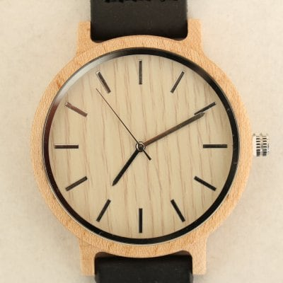 【木の腕時計】天然木×本革 木のぬくもり 優しい感触 メンズ レディース 革バンドの色も選択可♪ 金属アレルギーで腕時計を諦めていた方にも【KF】