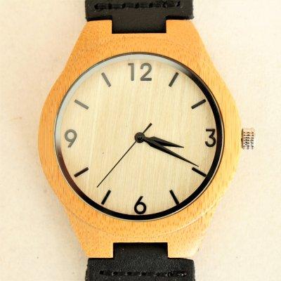 【木の腕時計】天然木×本革 木のぬくもり 優しい感触 メンズ レディース 革バンドの色も選択可♪ 金属アレルギーで腕時計を諦めていた方にも【O】