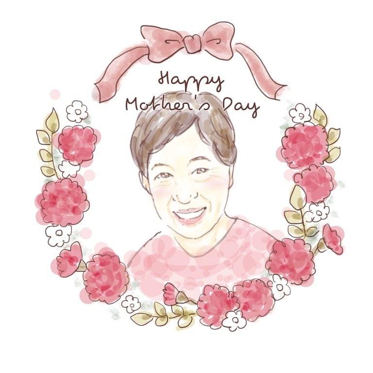【データ納品】お母さんありがとう💐やさしい似顔絵プレゼントのイメージその2