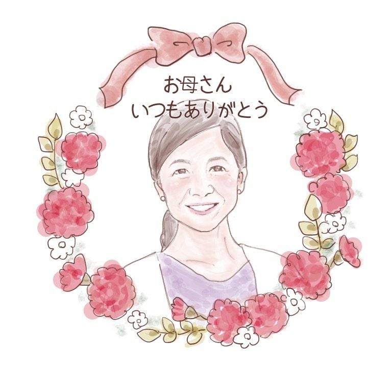 【データ納品】お母さんありがとう💐やさしい似顔絵プレゼントのイメージその1