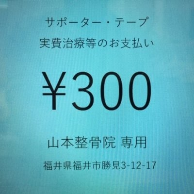 サポーター・テープ・実費治療等 支払い用チケット 300円