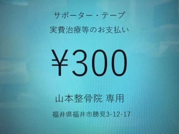 サポーター・テープ・実費治療等 支払い用チケット 300円のイメージその1