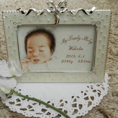 【Baby 私があなたを選びました】はがき『額ありローマ字入れ』おひとり赤ちゃん