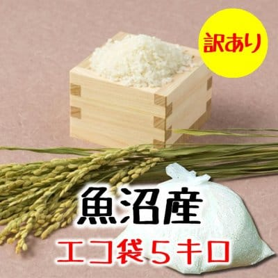 【訳あり処分】5kg新潟魚沼産コシヒカリ精米(エコ袋)|常温同梱可能