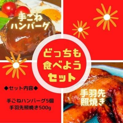 どちらも食べたい!【大人気!米子バーグ5個/手羽先照焼き500g入】(ご...