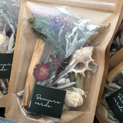 #1317 SPi-flower series ドライフラワー&ホワイトセージ詰め合わせ シェルトレイプレゼント♪