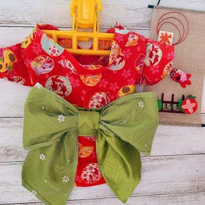 わんちゃん用BIGリボン浴衣(赤・緑リボン)