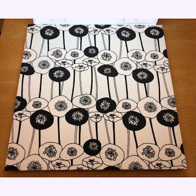 MALTOWA ファブリックパネル 45.5×45.5 花 ホワイト・ブラック 単品