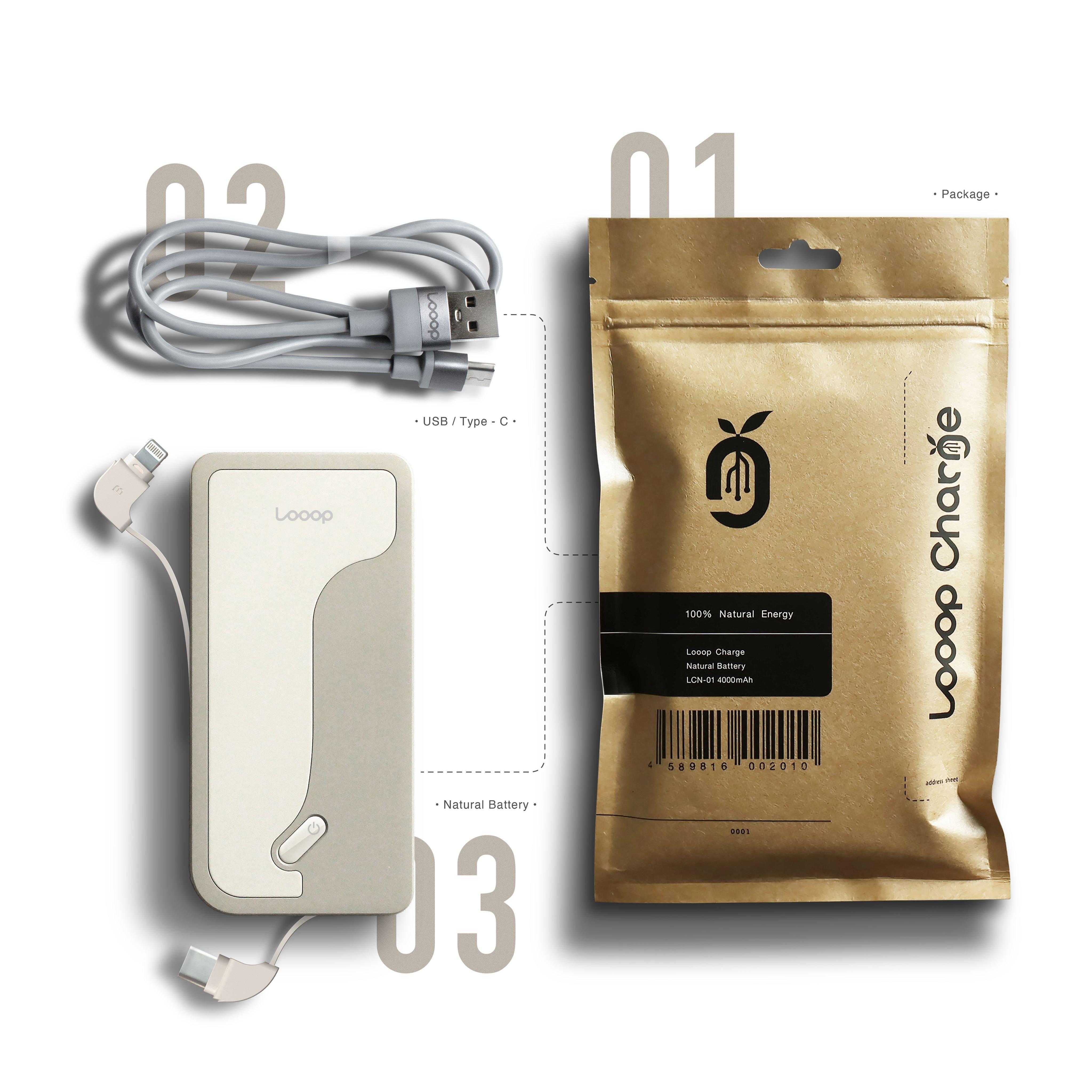 【店頭販売限定】Looop Charge モバイルバッテリー 4000mAh(PSE認証済み)のイメージその3